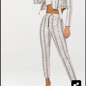 Grey Front Zip Snake Print Trouser